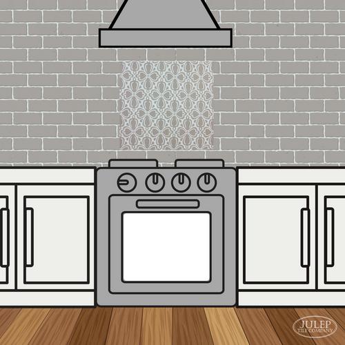 Kitchen Backsplash with Brocade Handmade Tile Decorative Insert Over the Stove