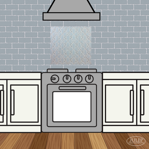Two-Color Kitchen Backsplash with Brocade Handmade Tile Decorative Insert Over the Stove