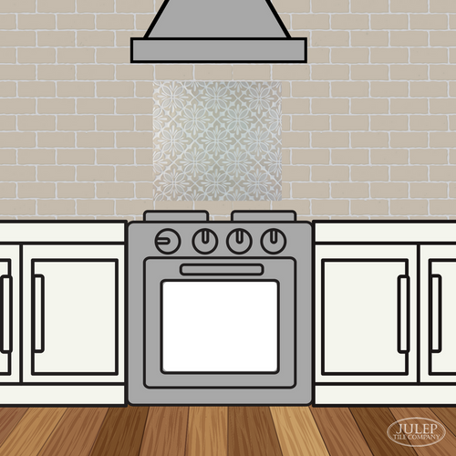 Kitchen Backsplash with Two-Color Cobham Handmade Tile Decorative Insert Over the Stove