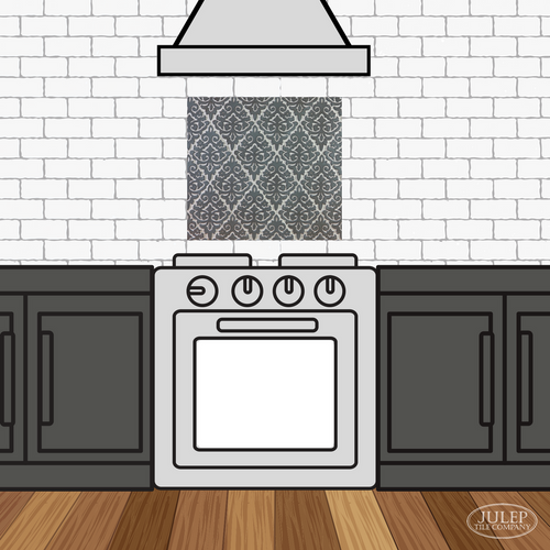Kitchen Backsplash with Damask Handmade Tile Decorative Insert Over the Stove