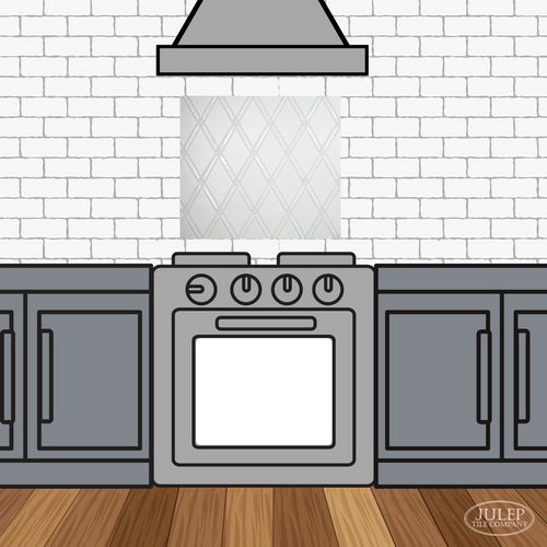 Kitchen Backsplash with Two-Color Gate Handmade Tile Decorative Insert Over the Stove