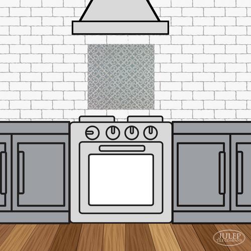 Kitchen Backsplash with Hiser Handmade Tile Decorative Insert Over the Stove