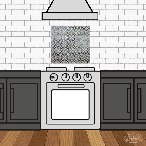 Kitchen Backsplash with Two-Color Hiser Handmade Tile Decorative Insert Over the Stove