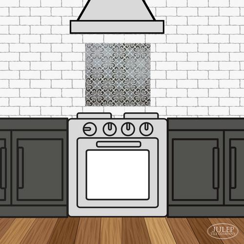 Kitchen Backsplash with Two-Color Hiser Handmade Tile Decorative Insert Over the Stove