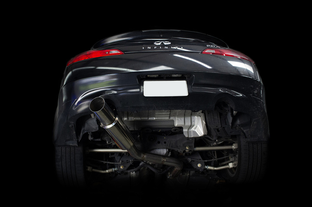 ISR single exit G37 Exhaust system installed on car