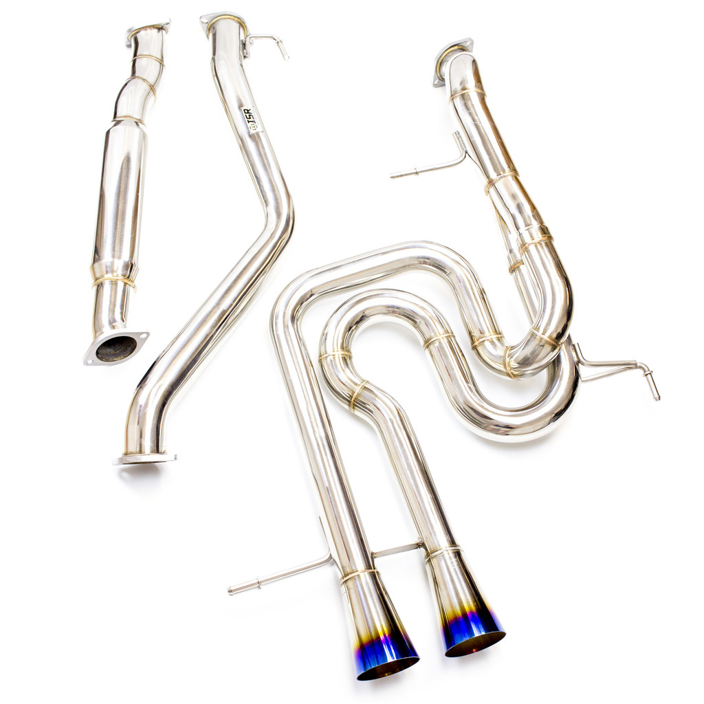 ISR Veloster Turbo Race exhaust for 2013-2015 featuring straight through piping with dual burnt tip megaphone style exits presented by Ace Up Motorsports