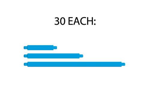 Get 30 of each length of blue strut (B0, B1, B2)