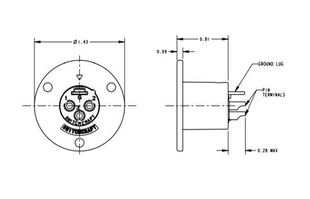 Switchcraft C4M C Series Circular Panel Mount 4 Pin XLR Male, mounts w/ 5 Screws (Not included) - Silver Pins / Nickel Finish