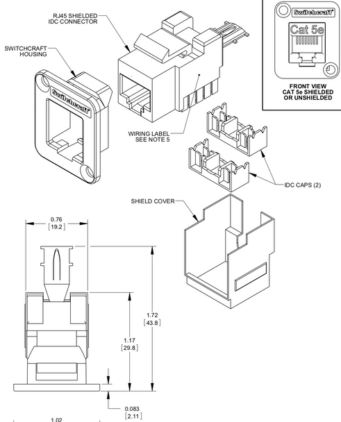 Switchcraft EH Series RJ45 CAT5e Feedthru Connector to IDC