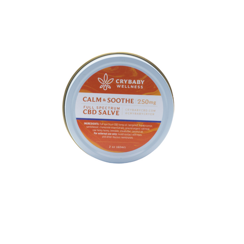 CryBaby's Calm & Soothe Salve is a pain reliever and skin protectant for rashy or irritated skin. In a convenient 2oz tin.