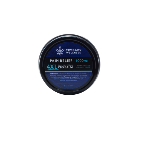 CryBaby's quadruple-strength Pain Relief Balm contains concentrated reflief in a convenient, travel friendly 2oz tin.