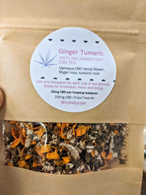 One pouch of our small batch, hand blended CBD Anti-inflammatory Tea. Made with ginger and tumeric root plus Umpqua CBD hemp flower.