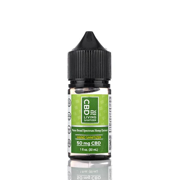 CBD Living Hand Sanitizer combines CBD with 62% ethyl alcohol to sterilize hands and Vitamin E and Aloe to deliver moisture and keep skin smooth.