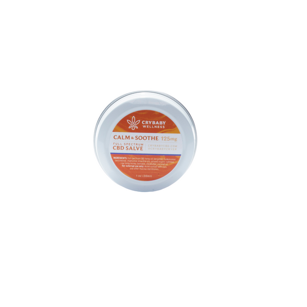 CryBaby's Calm & Soothe Salve is a pain reliever and skin protectant for rashy or irritated skin. In a convenient 1oz tin.