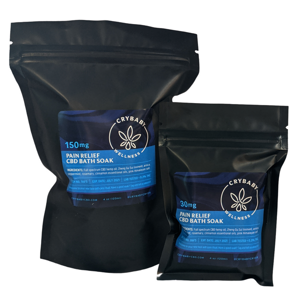 Made with full spectrum CBD oil, pink Himalayan salt, and pure essential oils. Ease muscle stiffness and pain, reduce inflammation, and help to restore your body's mineral composition with our 4oz or 20oz Pain Relief CBD Bath Soak.