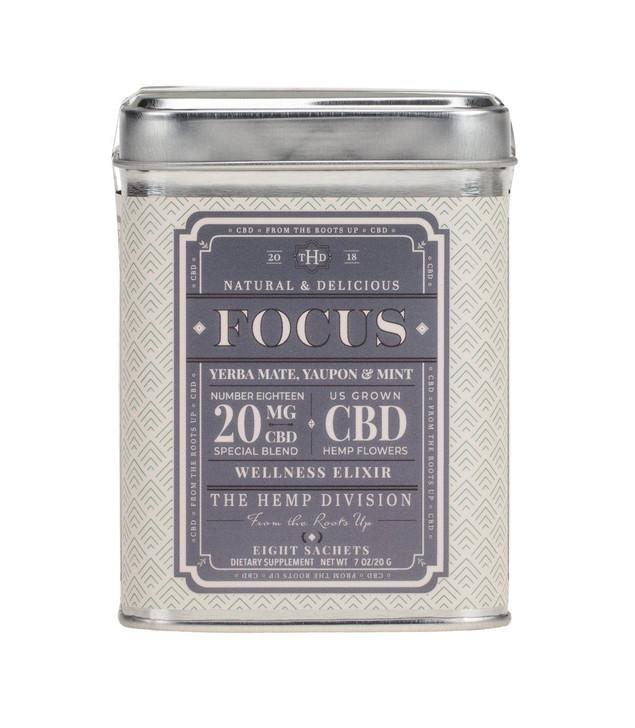 Focus 20mg CBD per tea bag. Contains caffeine. Other ingredients: CBD hemp flowers, yerba mate, yaupon, mint.