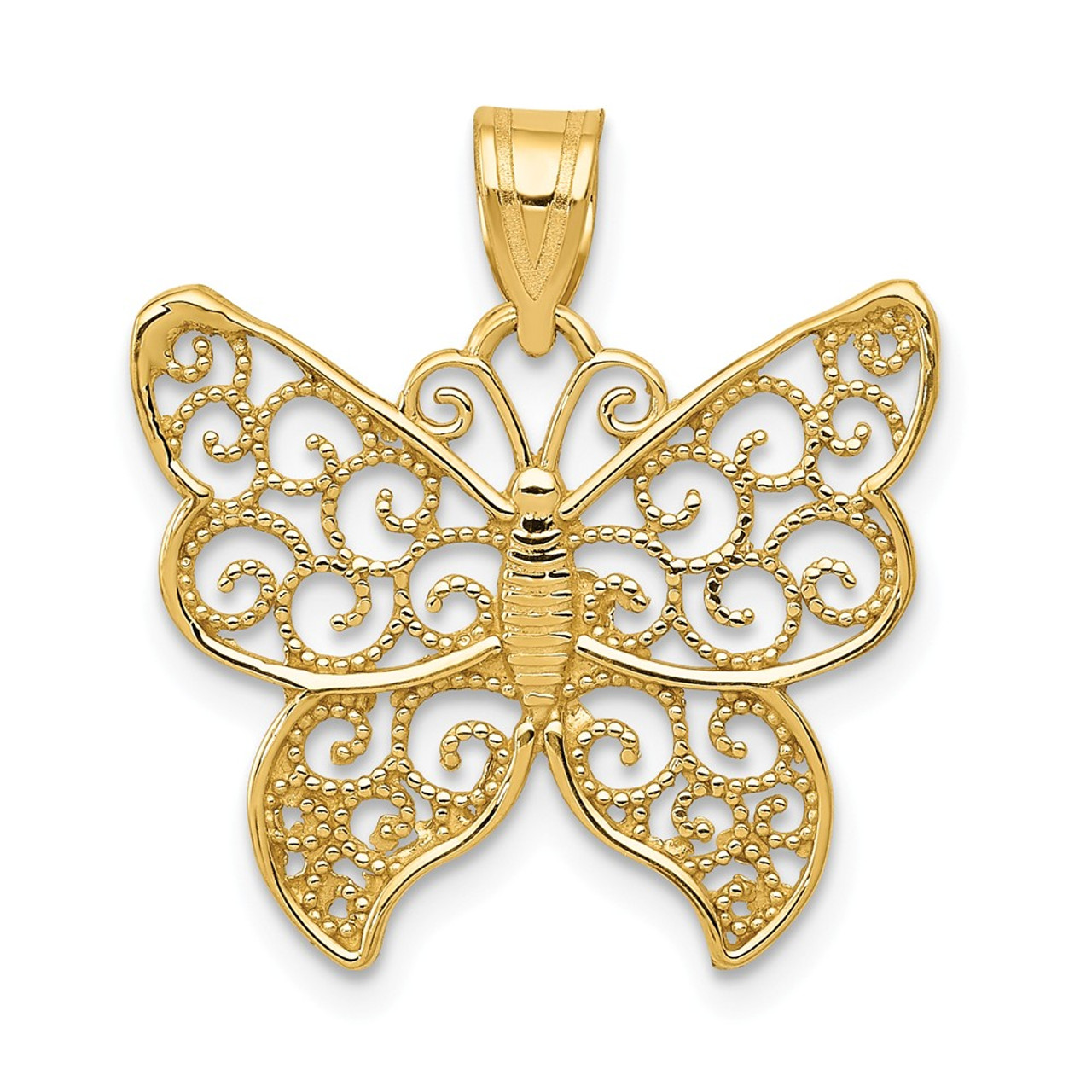 14k Yellow Gold Children/'s Butterfly CZ Polished Charm Pendant