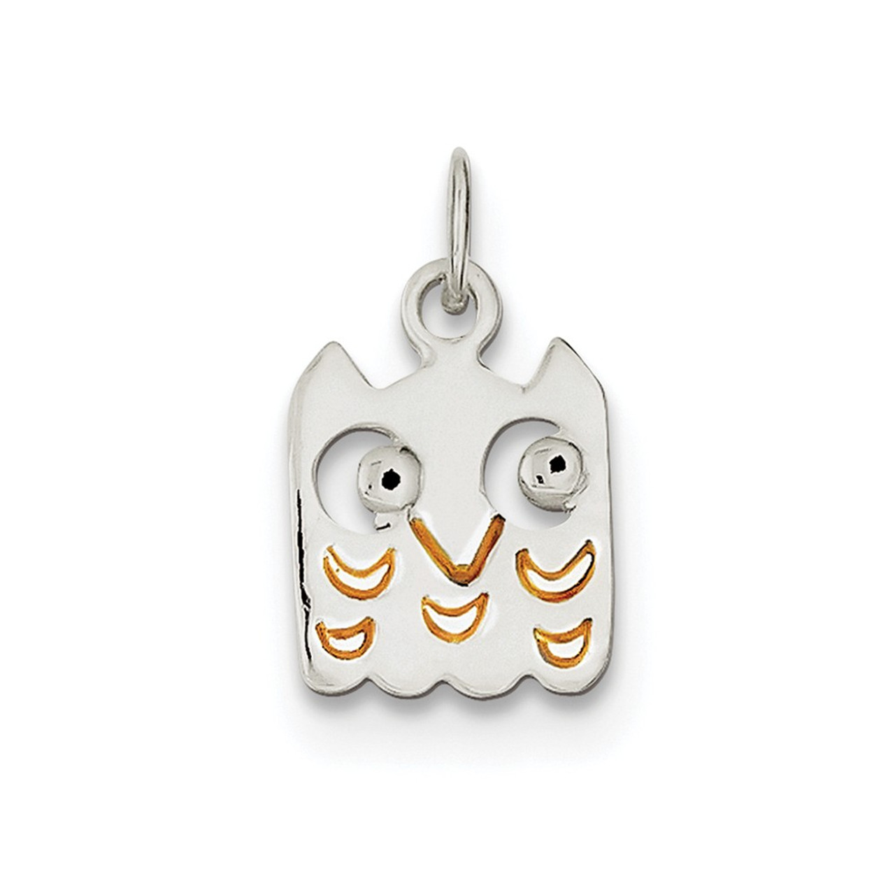 .925 Sterling Silver Pink Enameled CZ Elephant Charm Pendant