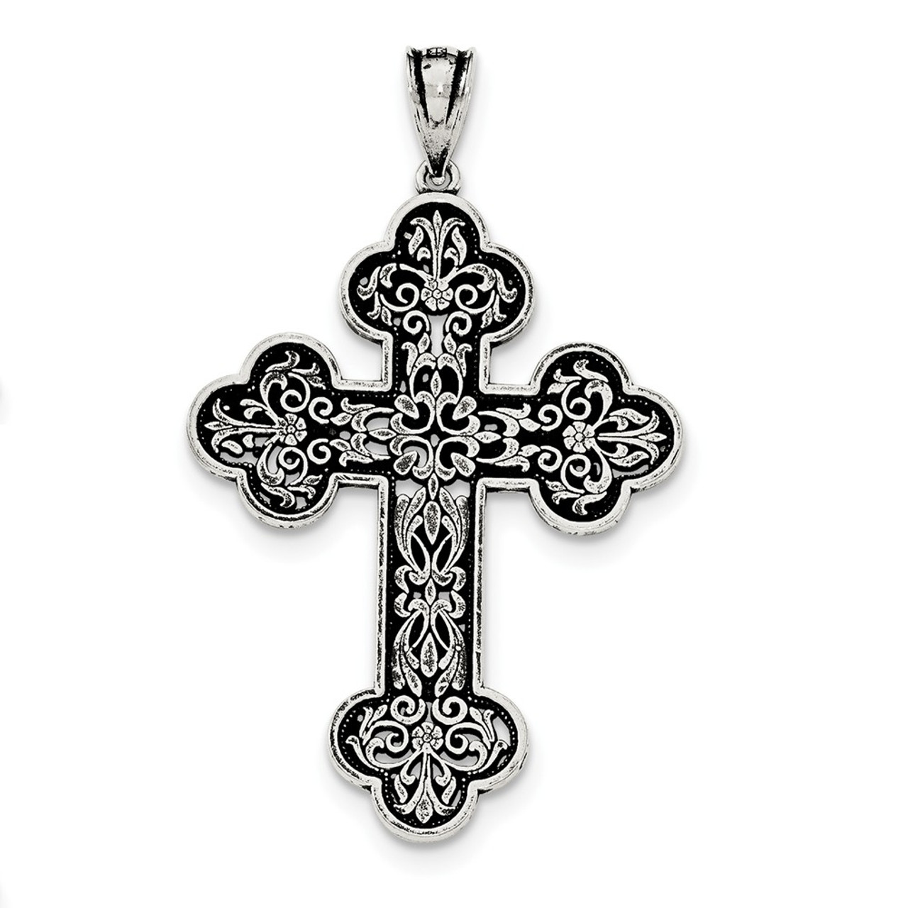 925 Sterling Silver Large Swirl Cross Charm with Necklace