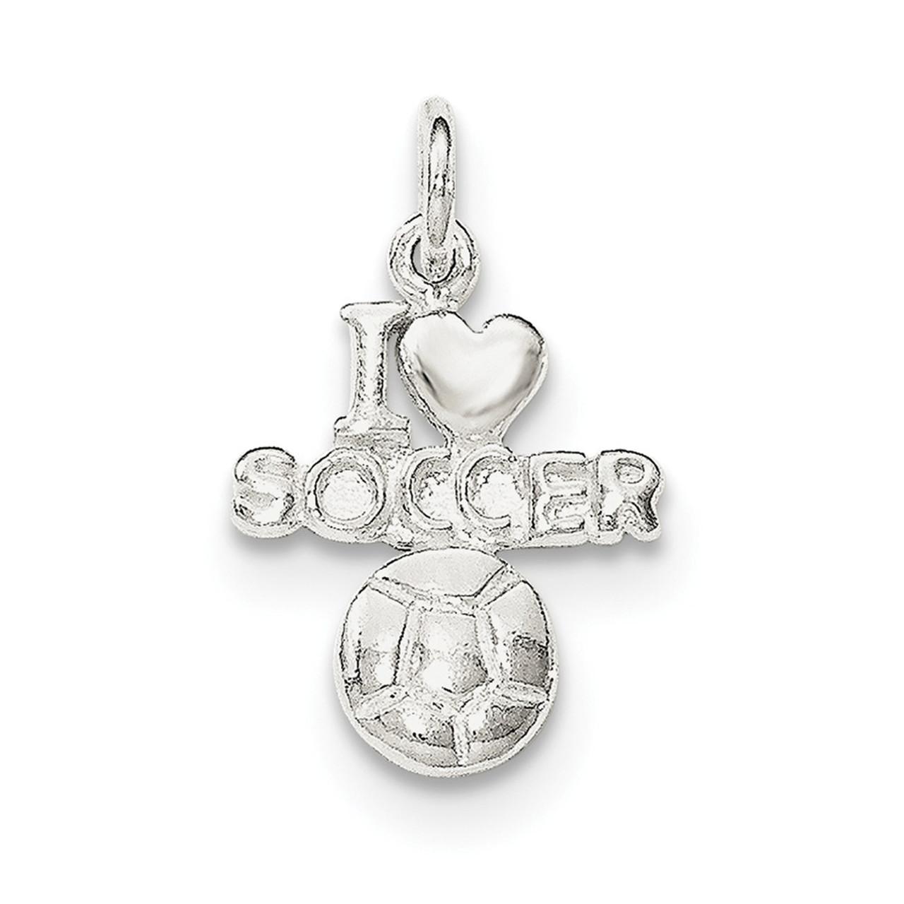 Sterling Silver Polished I Love Soccer Pendant