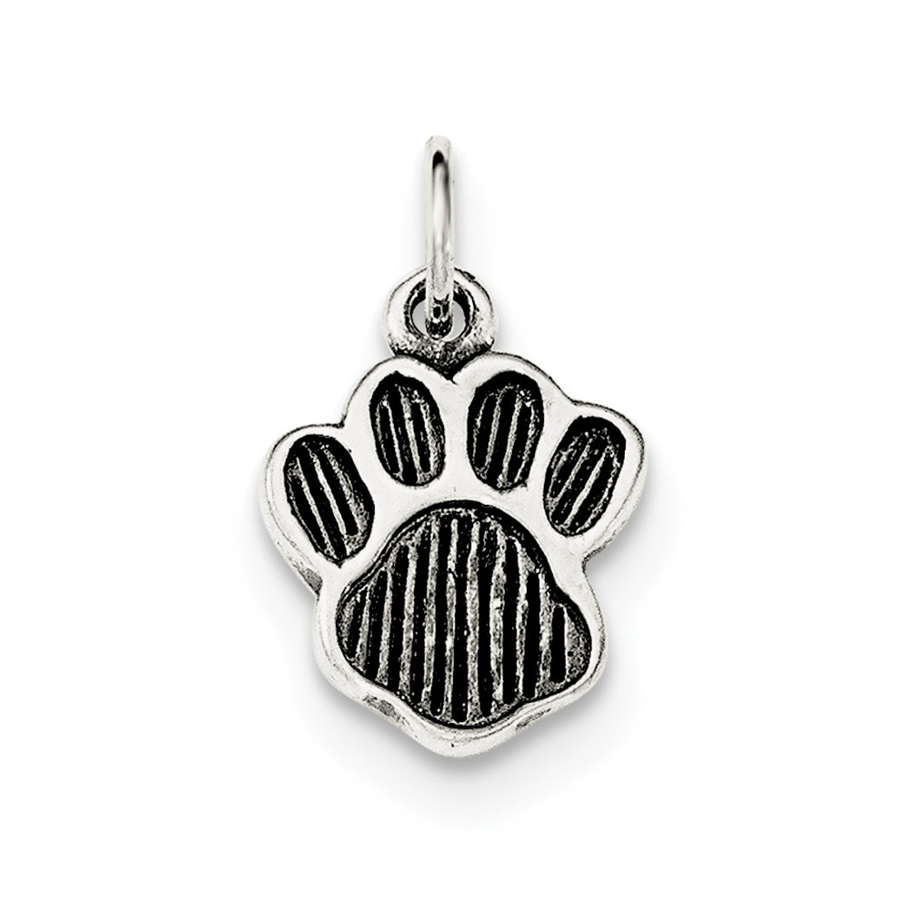 .925 Sterling Silver Polished /& Textured Mini Dog Paw Print Charm