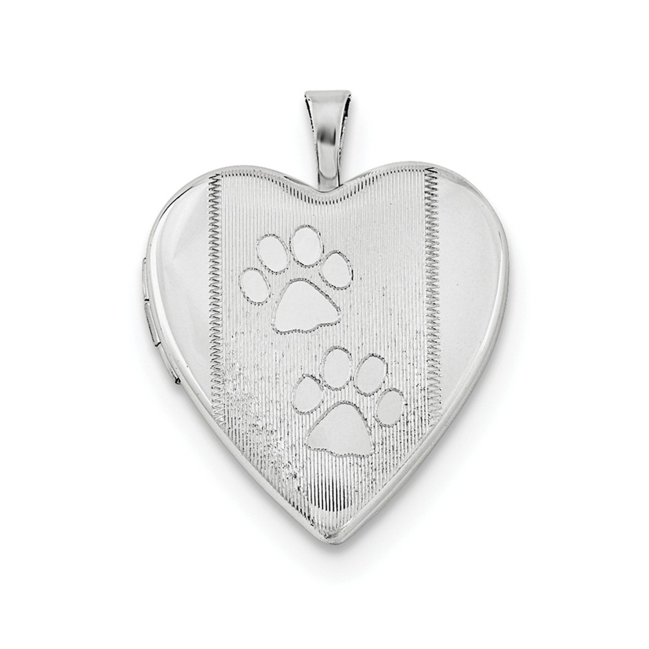 925 Sterling Silver Polished /& Satin Paw Print Oval Locket Charm Pendant