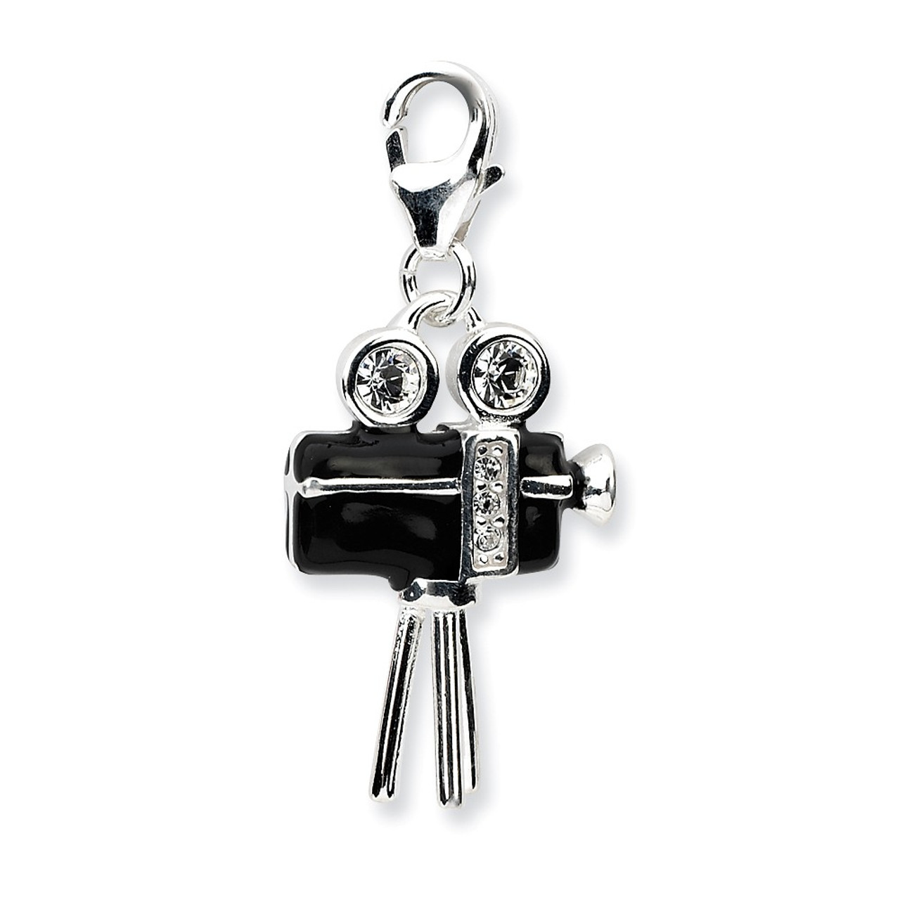 Amore La Vita Sterling Silver Black Crystal Cat with Lobster Clasp Charm