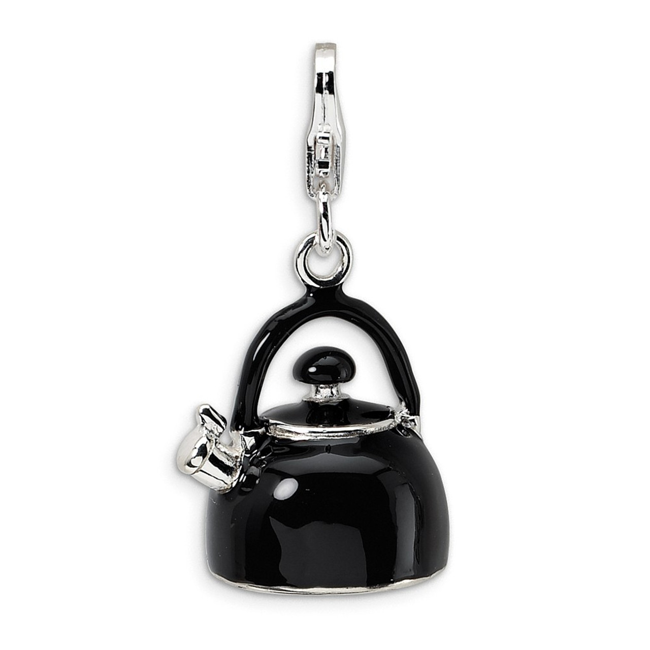 Sterling Silver Gold-Plated White Enameled Tea Pot Click-On Lobster Clasp Charm