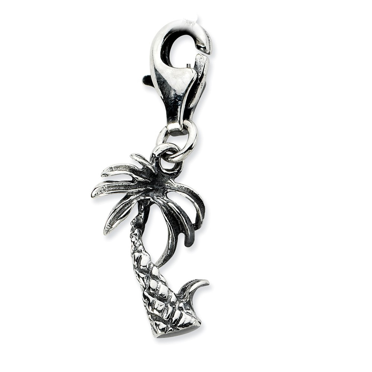 925 Sterling Silver Antiqued Clam Shell with Lobster Clasp Charm