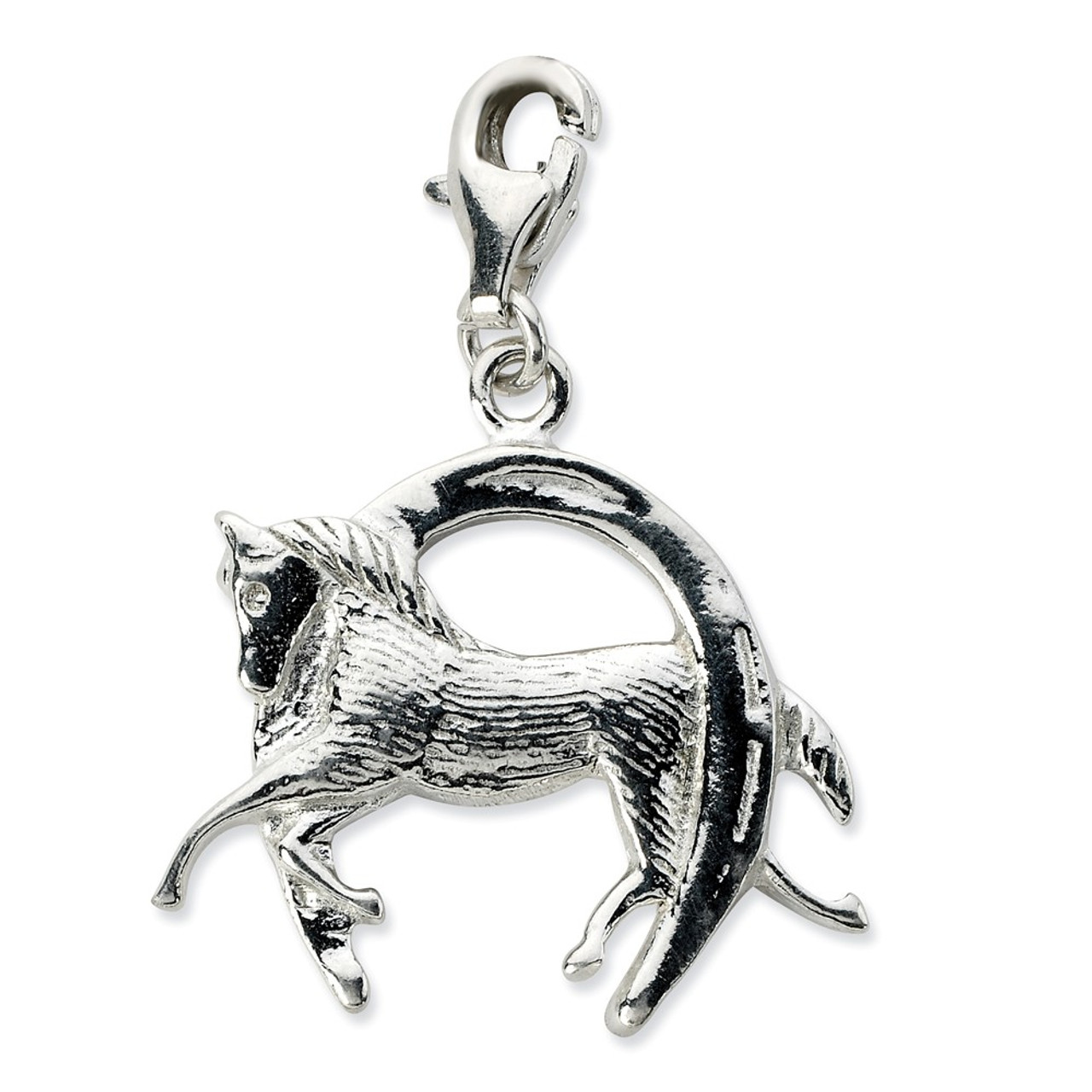 Amore La Vita Sterling Silver 3-D Antiqued Flute with Lobster Clasp Charm