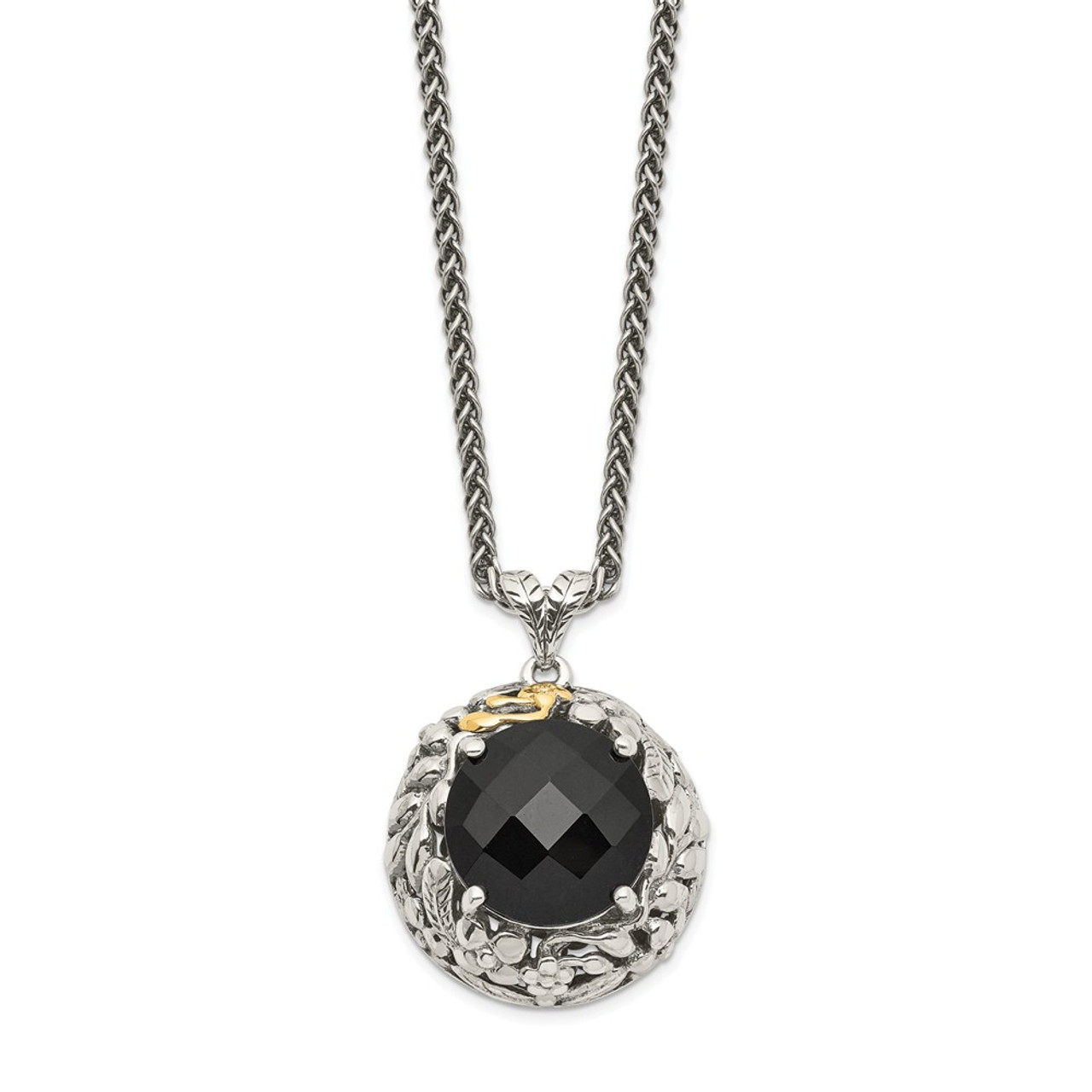 """Onyx Pendant 18/"""" Necklace .925 Sterling Silver /& 14K Gold Accent Shey Couture"""