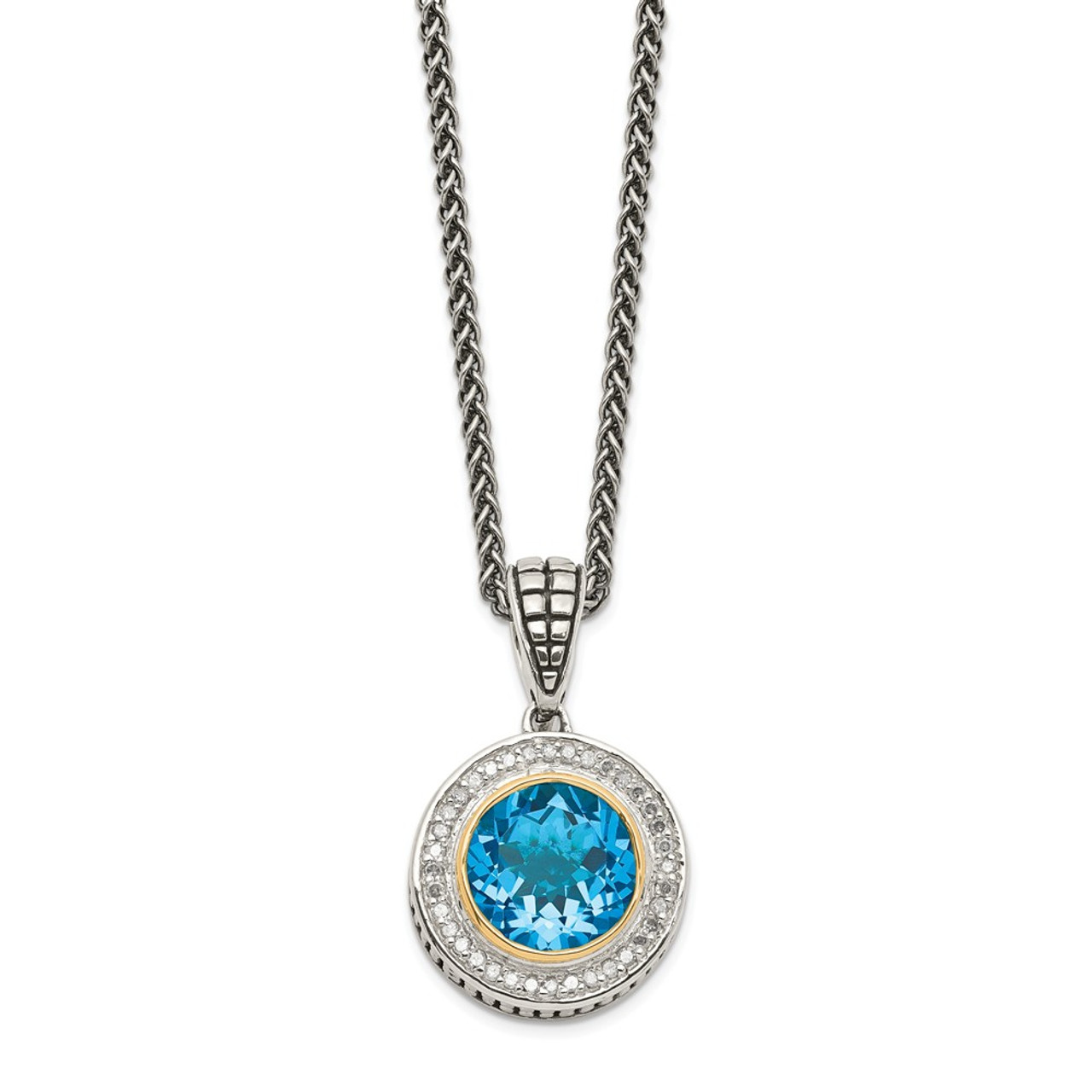 """Diamond Vintage Heart 18/"""" Necklace Sterling Silver 14K Accent .1 Ct Shey Couture"""