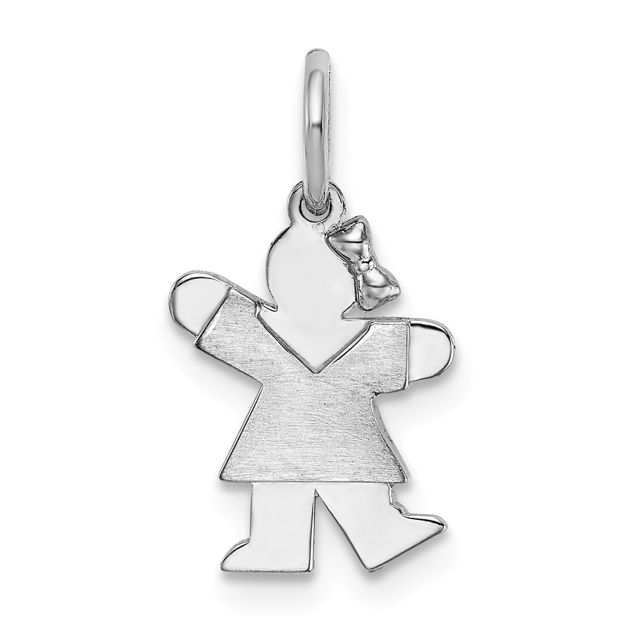 14k White Gold Solid Polished Kid Charm