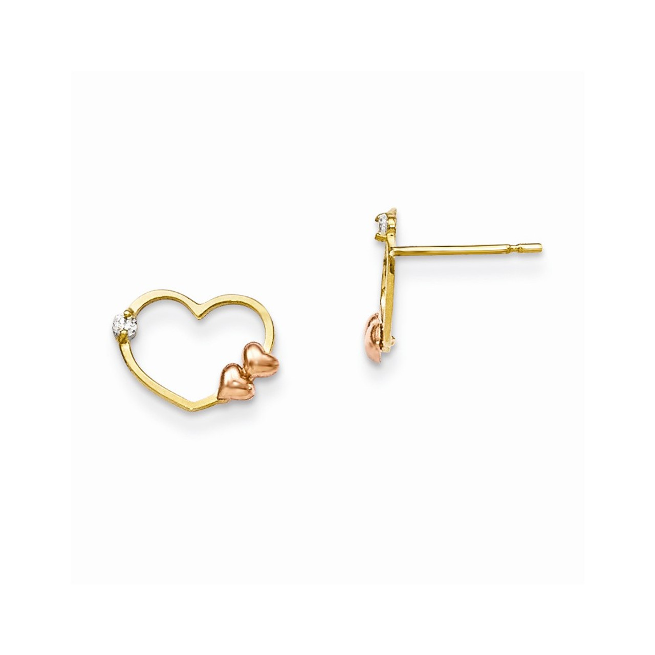 14K Rose And Yellow Gold Madi K Childrens 5 MM Heart Post Stud Earrings