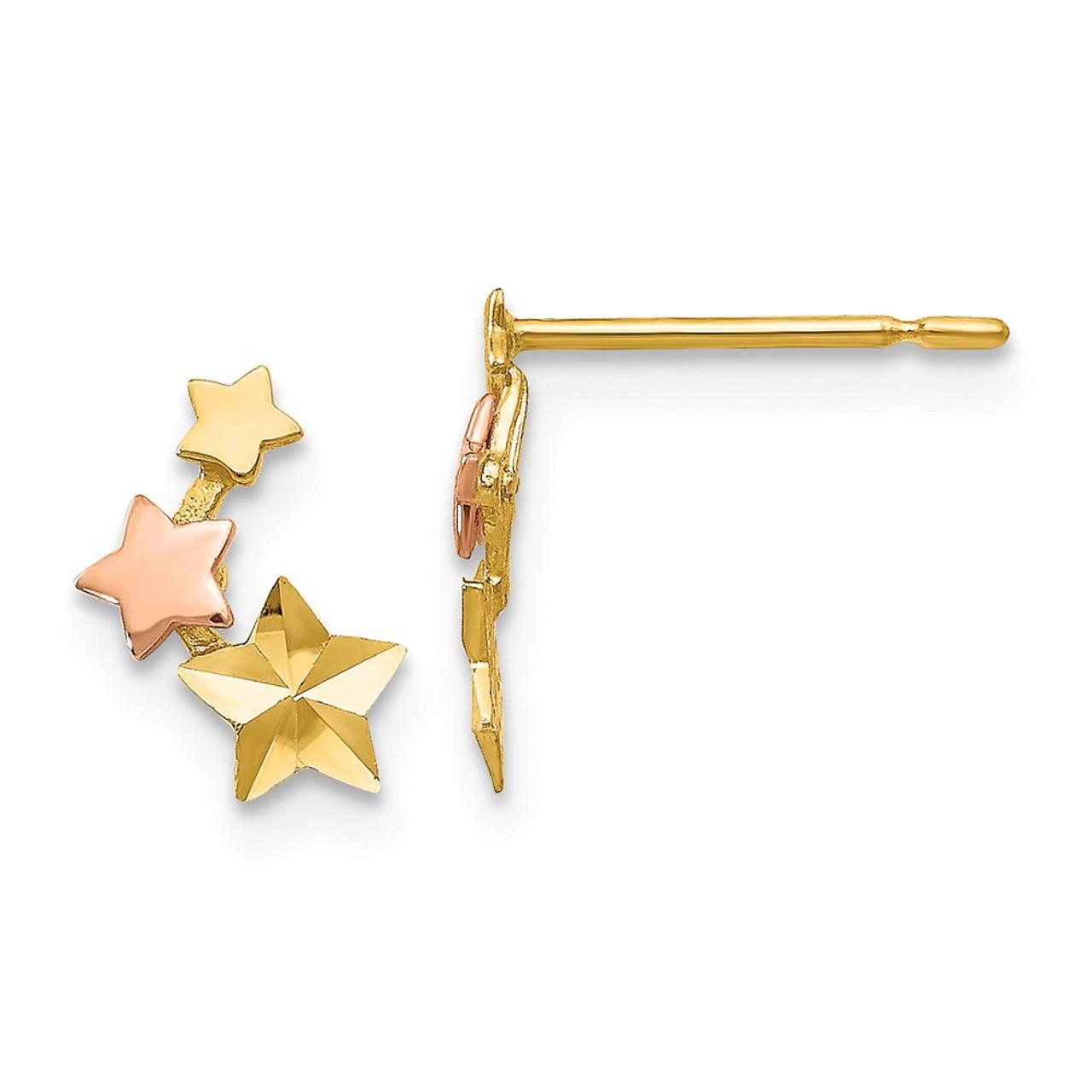 14K Yellow Gold Madi K Star and Moon Children Post Earrings