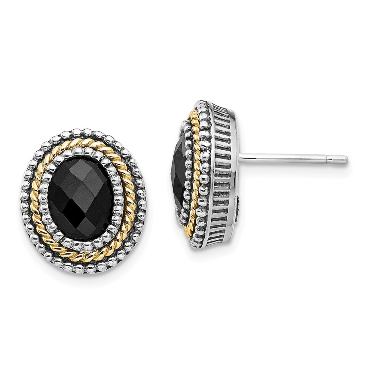 Garnet Post Earrings .925 Sterling Silver /& 14K Accent Push Back Shey Couture