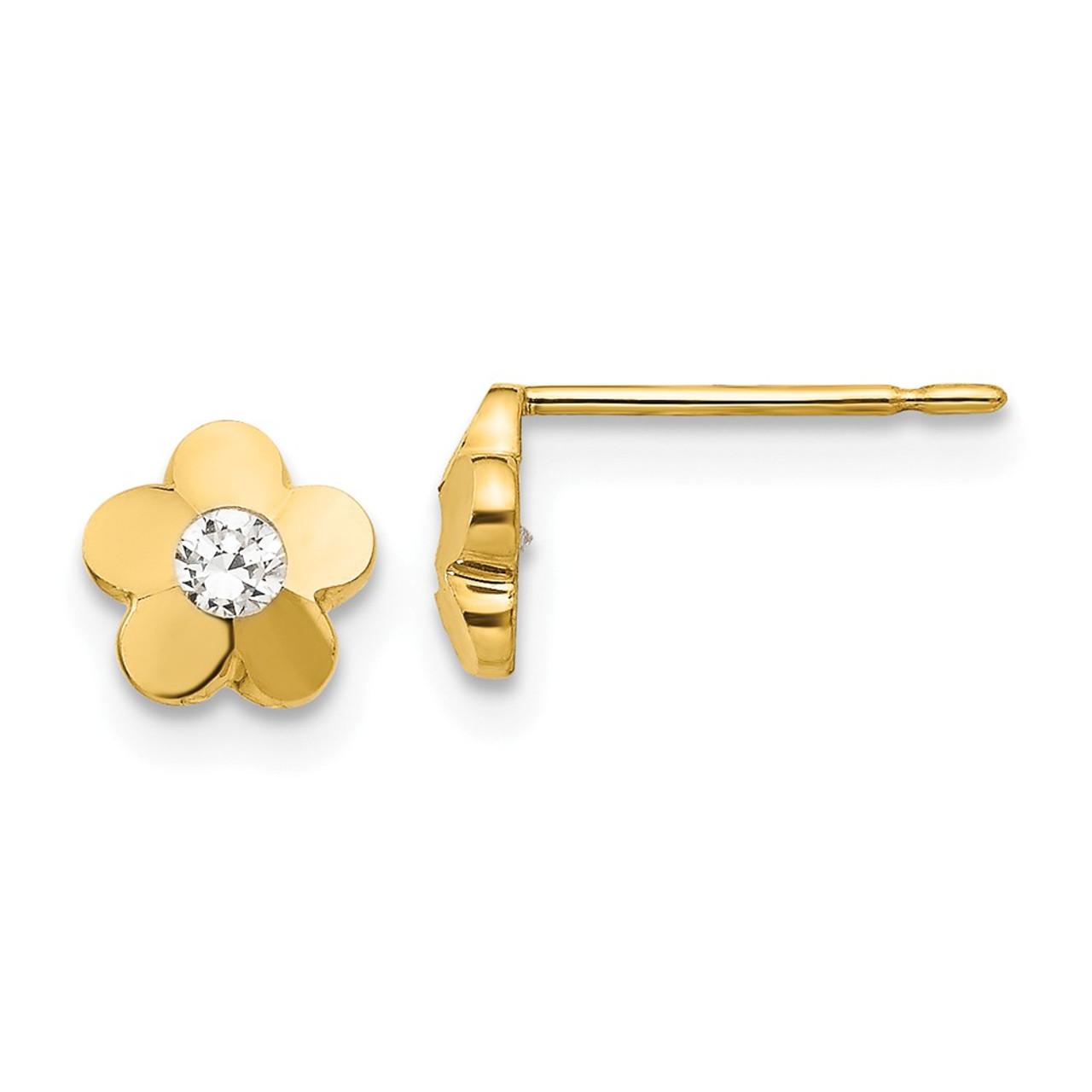 14K Madi K CZ Diamond Cut Childrens Flower Post Earrings