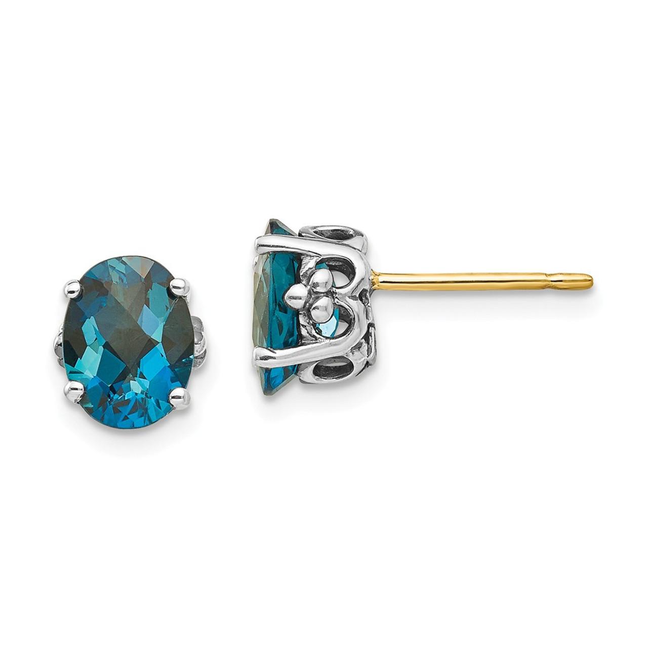 2 Ct London Blue Topaz /& Diamond Oval Stud Earrings 14Kt Yellow Gold Plated