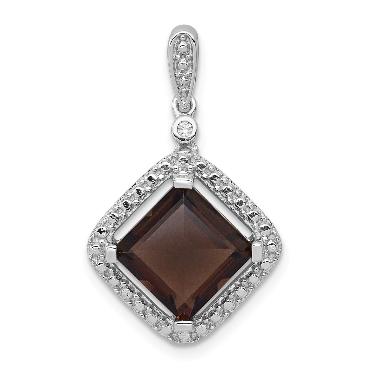 Top 10 Jewelry Gift Sterling Silver Rhodium Smoky Quartz Diamond Pendant