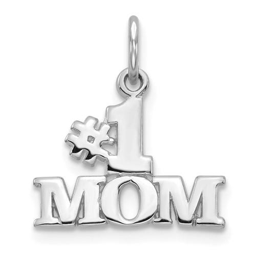 14k White Gold Antiqued #1 Mom Charm