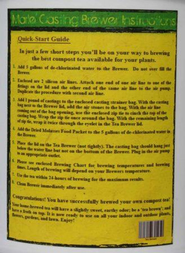 Casting Tea Brewer Instructions Label