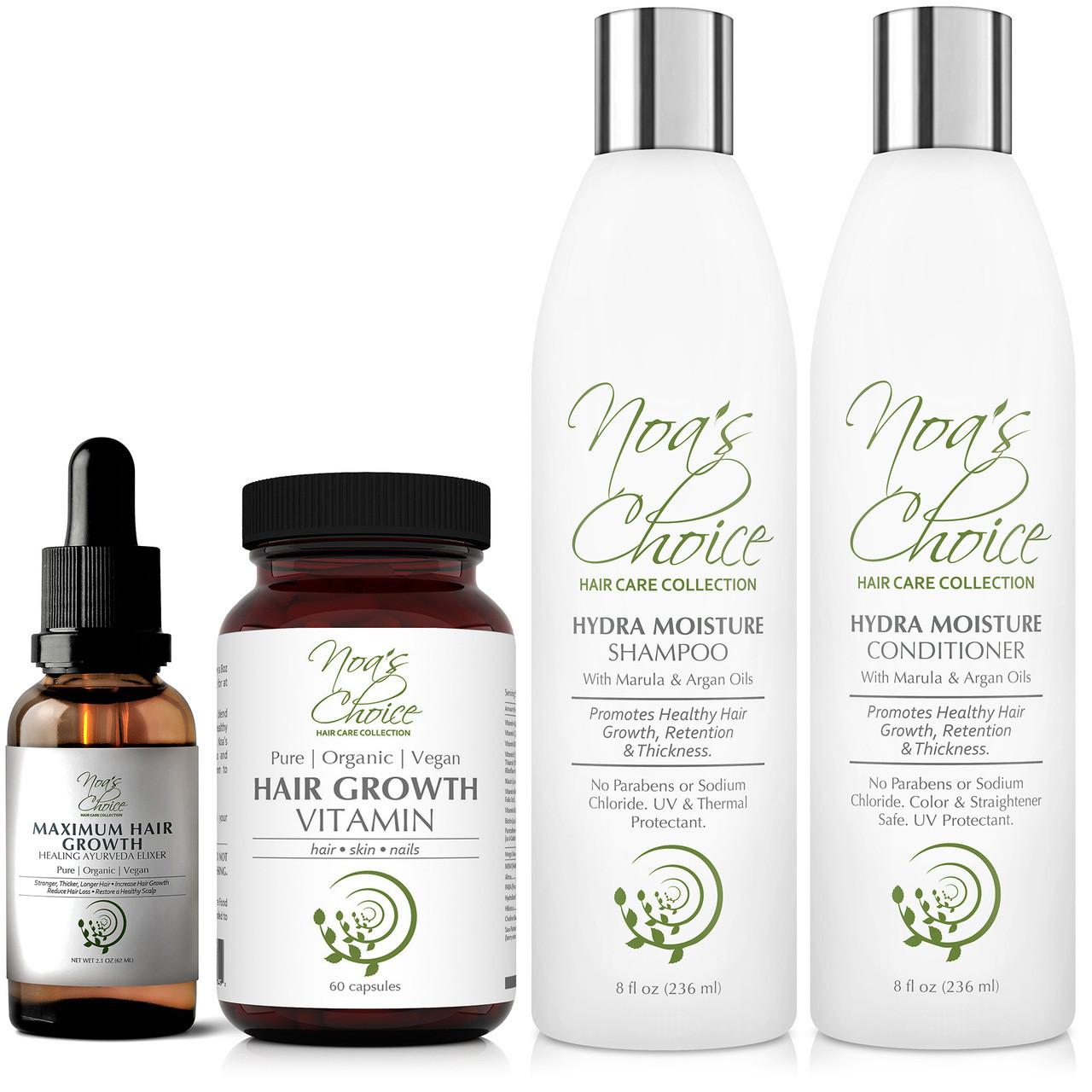 Hair Growth Vitamins >> Noa S Choice Organic Ayurvedic Hair Growth Strengthening Shampoo Conditioner Hair Elixir Hair Growth Vitamins Ayurvedic Hair Elixir Kit