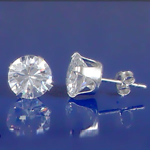 4mm Sterling Silver Diamonique Stud Earrings
