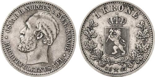 Norway Krone 1887 Oscar II XF