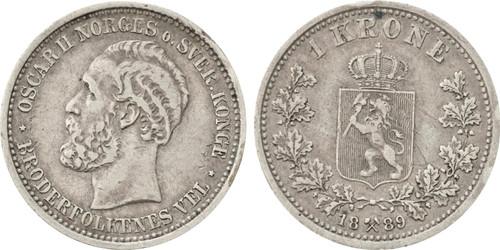 1889 Norway Krone Oscar II VF