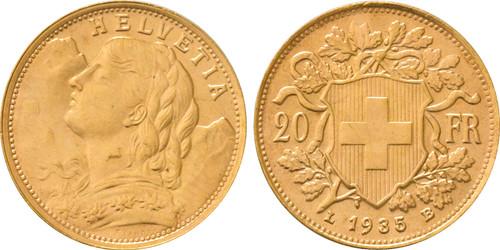 1935-LB Switzerland 20 Francs Confederation UNC