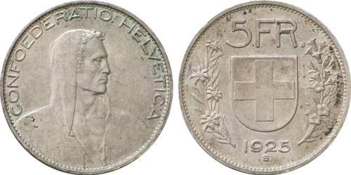 1925-B Switzerland 5 Francs Confederation AU