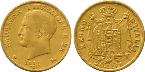 1811-M Italy 20 Lire Napoleon I