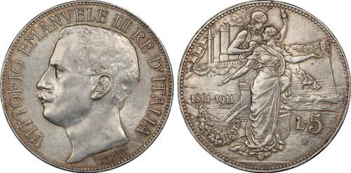 1911 Italy: Vittorio Emanuele III 5 Lire