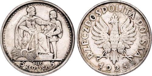 1925 Poland: Republic 5 Zlotych